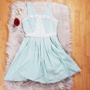 Doe and Rae Spring Aline Sundress Aqua Blue